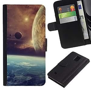 Planetar® Modelo colorido cuero carpeta tirón caso cubierta piel Holster Funda protección Para Samsung Galaxy Note 4 IV / SM-N910 ( Space Planet Galaxy Stars 21 )