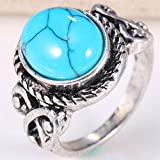 Women Men 925 Silver December Birthstone Ring Jewelry Turquoise Wedding Size6-10#by pimchanok (8)