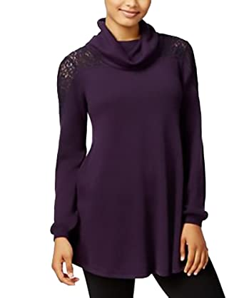 d497aeb508a Style   Co. Petite Cowl-Neck Lace Sweater Dark Grape PS at Amazon Women s  Clothing store