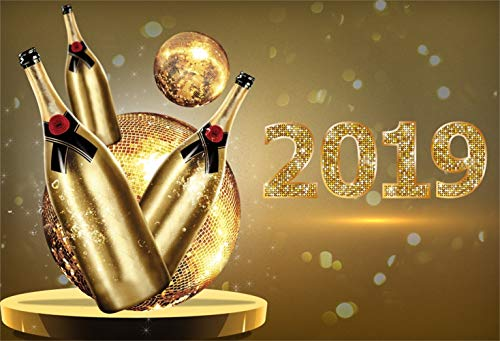 Laeacco Happy New Year 2019 Backdrop Vinyl 10x8ft Golden Mirror Ball Champagne Bottles Shiny 2019 Numbers Bokeh Haloes Photo Background New Year's Eve Party Banner Child Baby Adult Portrait Shoot