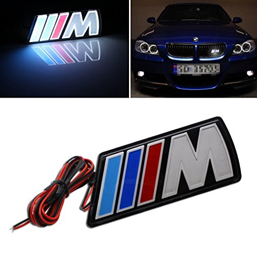 Tacraft LED ///M Power illuminated Front Emblem Grille l Badge For BMW Universal LED (Bmw Emblem Sticker Front)