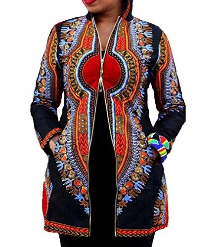 Womens Sexy Africa Print Hoodie Long Sleeves Party Clubwear Coat Jacket Blazer Print S by Memorose