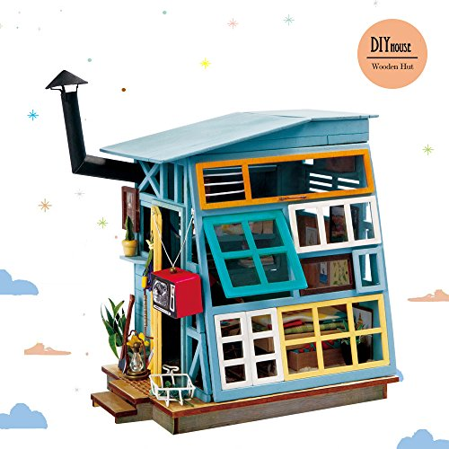 Hut Toy - Rolife Miniature Dollhouse Kits with Accessories-Model Building Sets-Wooden Toys-Super Fun Playset-Best Birthday for Girls Women Friends Mom Wife(Wooden Hut)