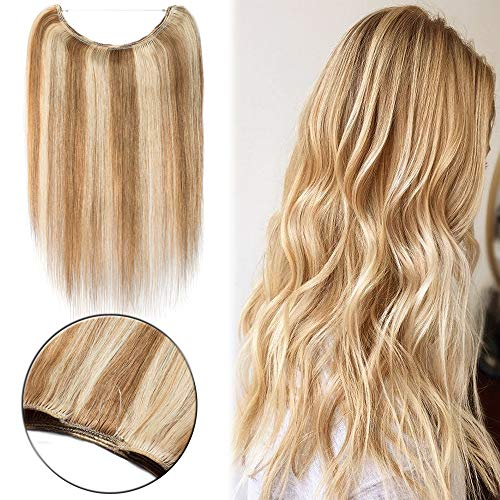100% Hidden Wire Human Hair Extensions Highlight Fish Line Remy Invisible Secret Wire Hairpieces No Clips No Glue for Women Beauty 22