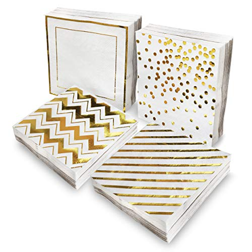 100 Pack Cocktail Napkins - Decorative White Gold Disposable Paper Napkins In 4 Assorted Gold Foil Designs - Party Dessert Napkin Bulk For Weddings, Birthdays, Baby shower - Folded 5 X 5 Inches -