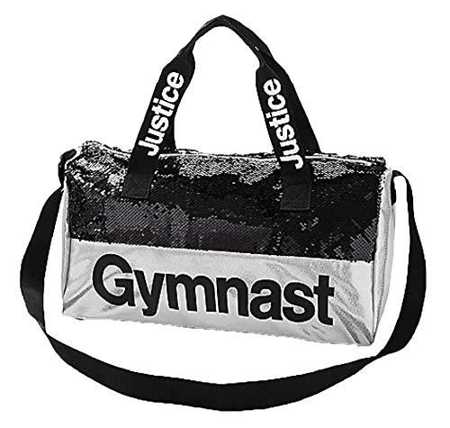 Justice Girls Grey Gymnast Reversible Sequin Duffel Bag ()