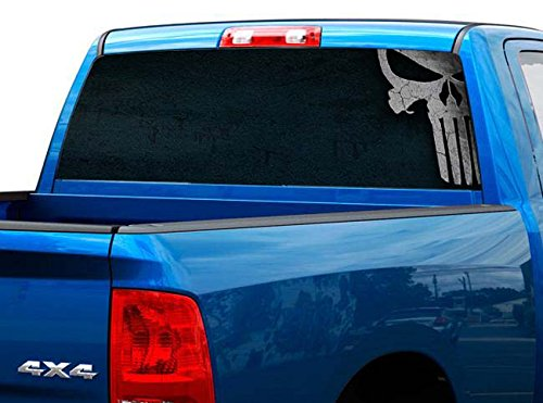 P487 Punisher Skull Tint Rear Window Decal Wrap Graphic Perforated See Through Universal Size 65