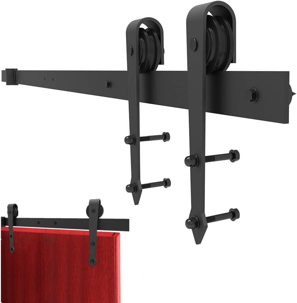 Carril de riel de puerta de madera de granero deslizante de 8 pies, juego de herrajes para armario de servicio pesado ultra liso, silencioso, robusto duradero, ajuste panel puerta espesor de 35-45 mm