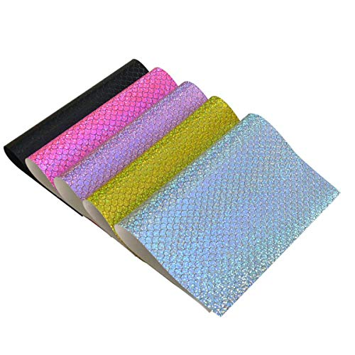 5 Pieces A4 Size Assorted Colors Holographic Iridescent Glitter Mermaid Fish Scale PU Faux Leather Sheets for Hair Bows Making, Hair Clips Making, Headband Making (Mix Color-9)