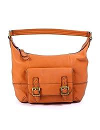Fossil Women's Tate Small Leather Hobo Shoulder Bag Handbag Purse, Light Orange