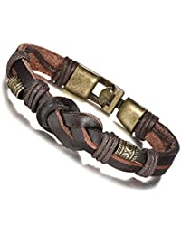 FIBO STEEL.Vintage Alloy Braided Leather Bracelet for Men Wrist Rope, 8.5 inches