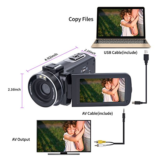 Video-Camera-Camcorder-SOSUN-HD-1080P-24-0MP-3-0-Inch-LCD-270-Degrees-Rotatable-Screen-16X-Digital-Zoom-Camera-Recorder-and-2-Batteries-301S-Plus