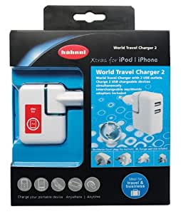 Hähnel USB World Travel Charger II - Cargador con USB para iPod