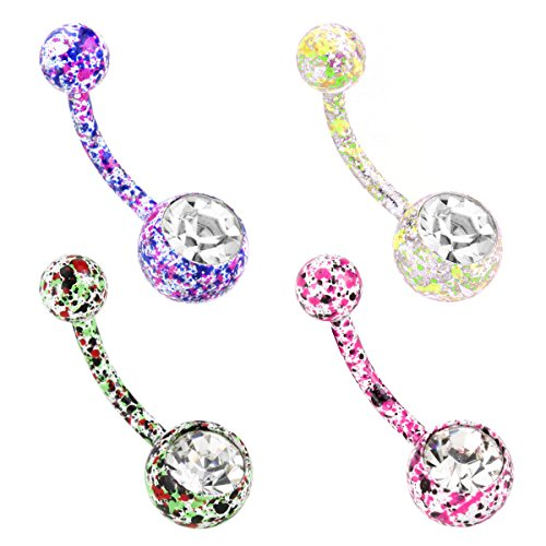 Charisma 14G Colorful Stainless Steel Belly Button Rings Crystal Navel Bars Labret Tongue Lip Tragus Bananabell Ear Stud Belly Button Studs