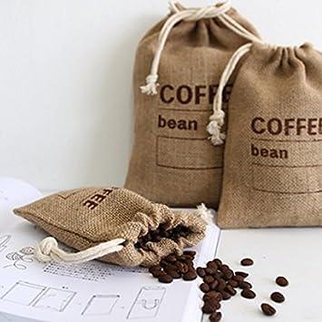 3pc,5.9 X 4.13 c/ér/éales en jute tiss/é Lots Sacs de grains de caf/é de cuisine Sundries Peas Sacs Date denregistrement avec cordon Sacs en toile de jute Naturel r/éutilisable