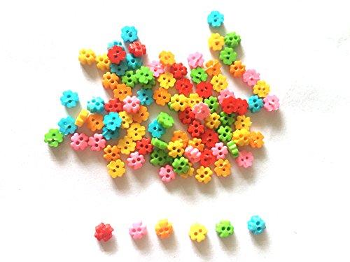 200 Pcs Cute Tiny clover Flower Button Size 4mm Mix bright color