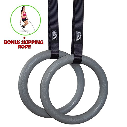 Elite Gymnastic Rings - Fitness Rings with Buckles that Don't Slip - #1 Highest Rated Gym Rings on Amazon - Free