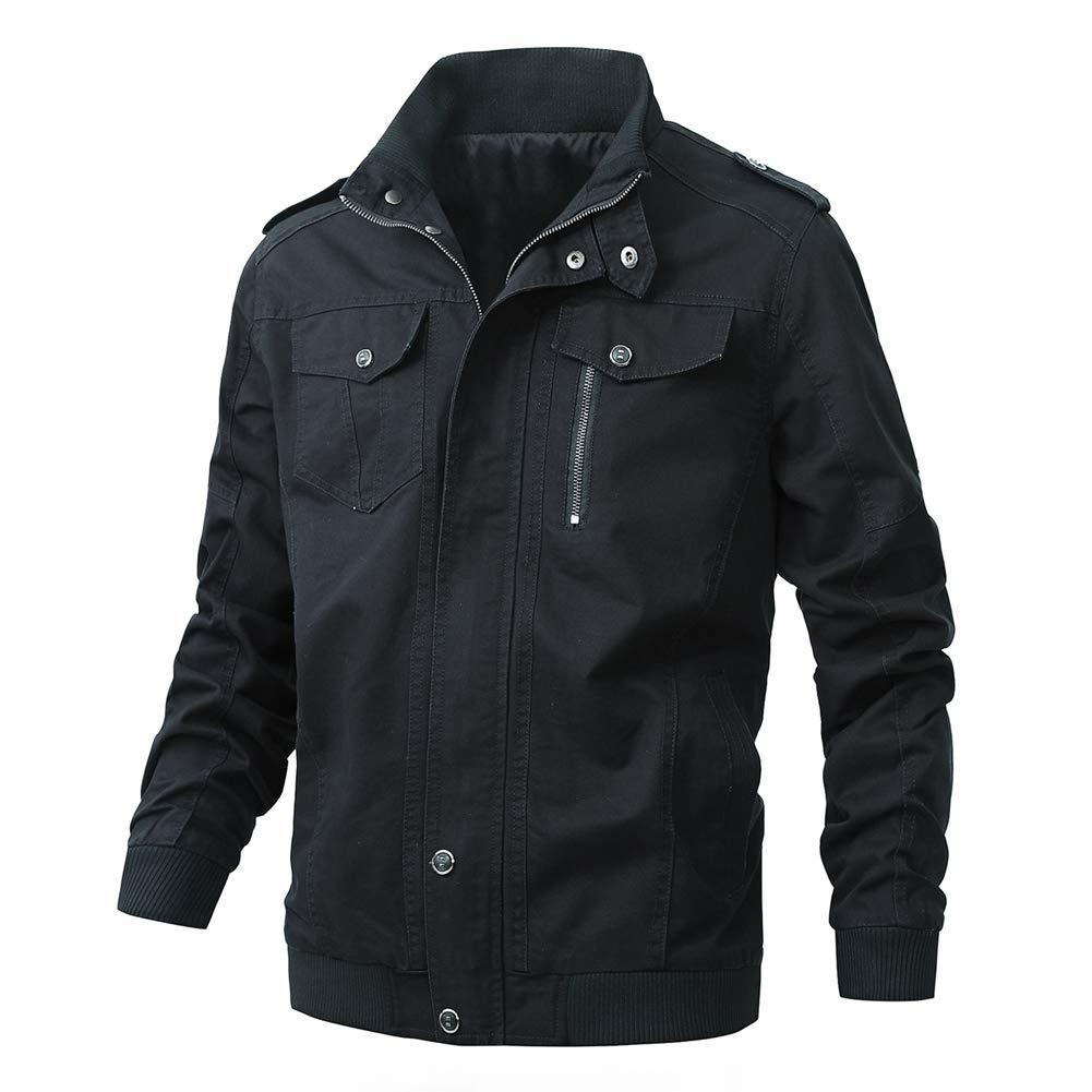 Casual Outdoor Windproof Coat Windbreaker Military Jackets for Men(811Black-S) by XiaoLongRen