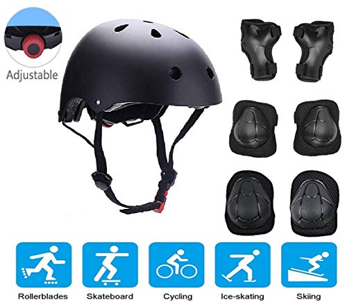 JIFAR Youth Kids Bike Helmet for Ages 5-8, Adjustable Toddler Protective Gear with Elbow Knee Wrist Pads for Skateboarding Bicycling Hiking, S Size for Girls Boys Helmet Black