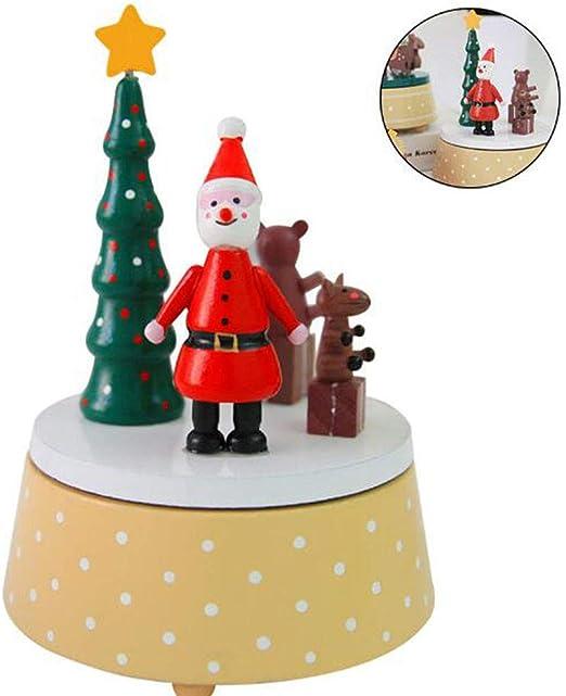 Cuzit - Caja de música de Navidad con diseño de Papá Noel y Ella; Juguete de Madera para árbol de Navidad: Amazon.es: Hogar