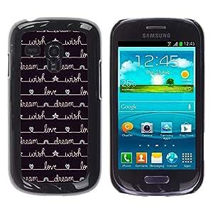 Cuaderno de escritura Diary Estrellas Negro - Metal de aluminio y de plástico duro Caja del teléfono - Negro - Samsung Galaxy S3 MINI i8190 (NOT S3)