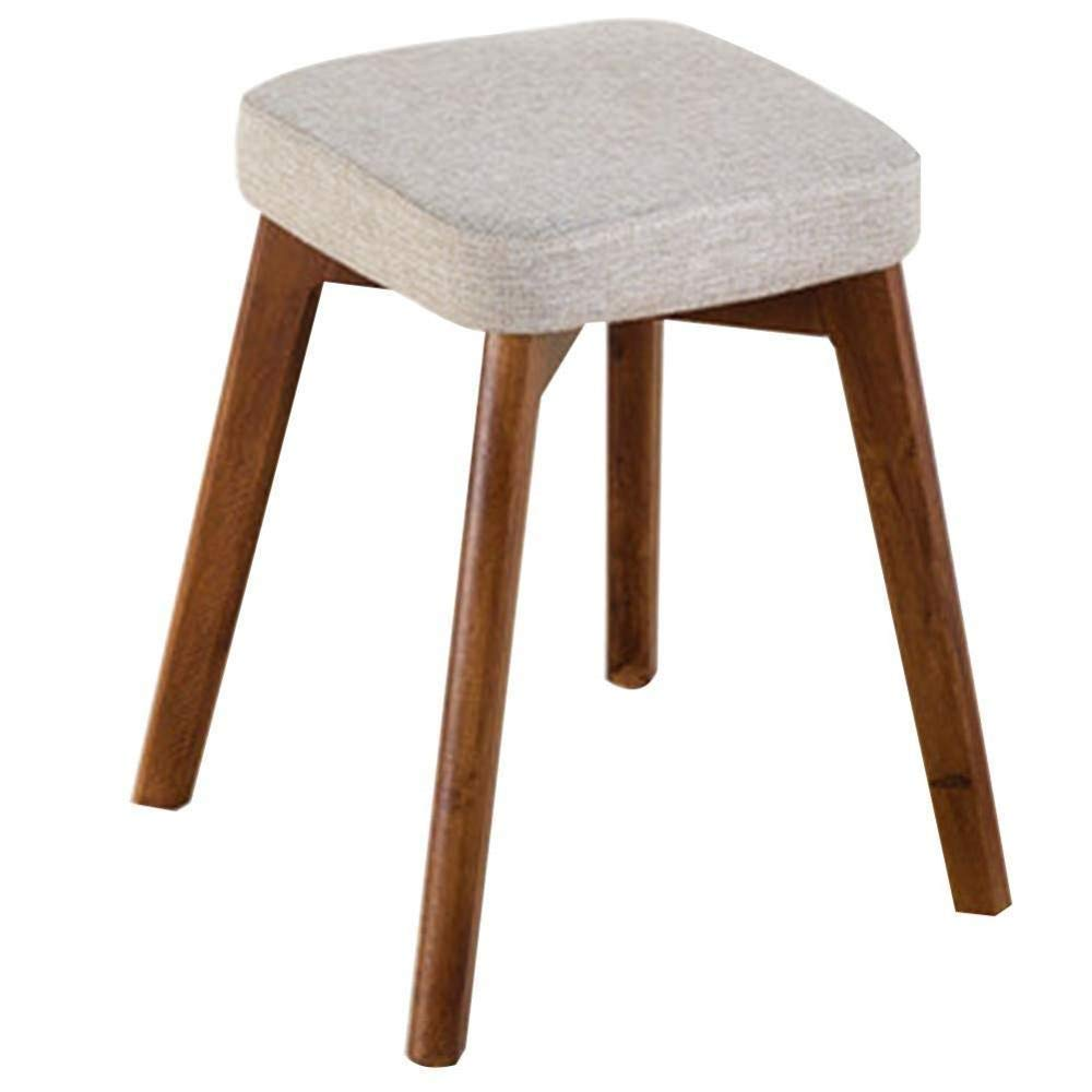 C Wood Small Stool, Fabric Square Stool Household Simple Leisure Stool Upholstered Stool, for Kitchen, Restaurant, Cafe, Bar (Size  37  37  46cm) (color   B)