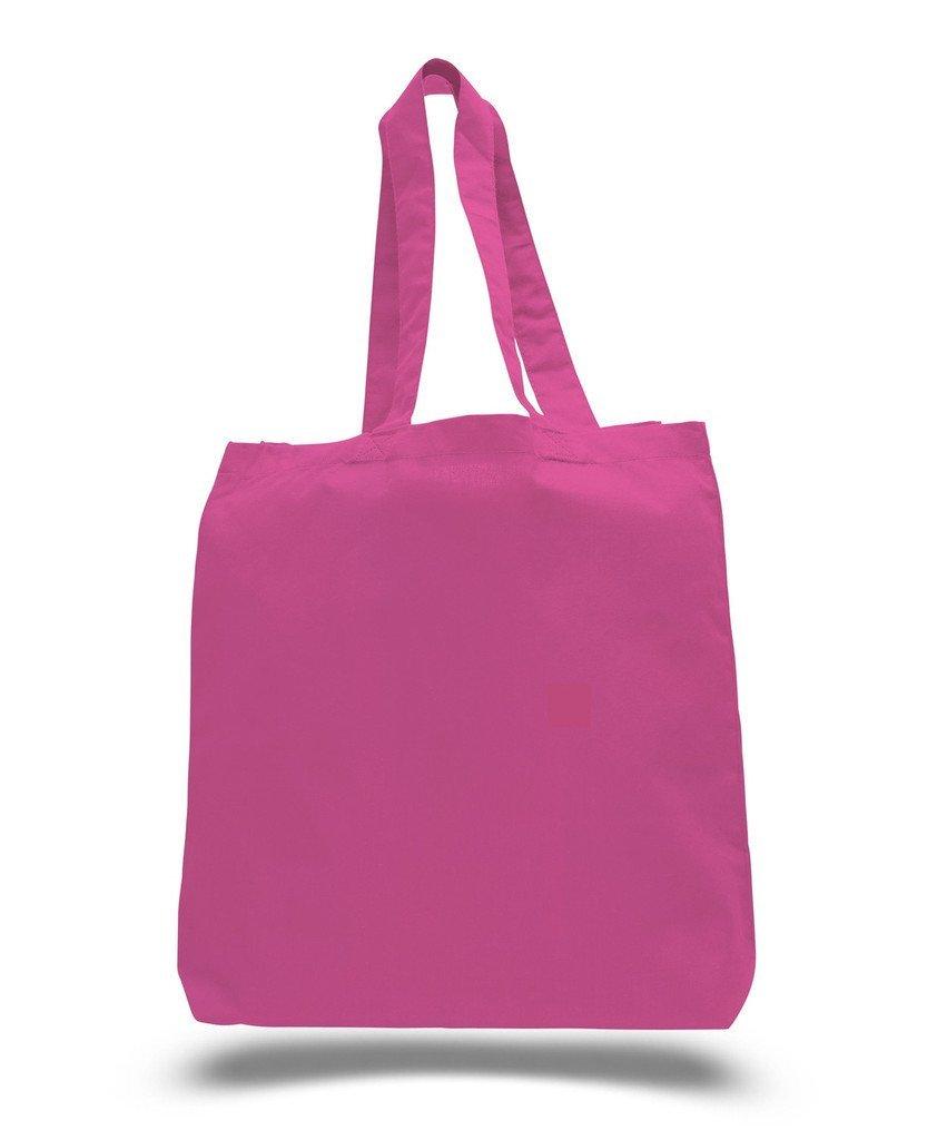 bagzdepot ( 24パック)一括購入DIYクラフトEco再利用可能なトートバッグ100 %コットン15 x 16 x 3 – 6オンス。コットン重量ファブリック空白Reusable Grocery Shoppingビーチアートとクラフトバッグ  ホットピンク B01DI6TKSA