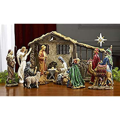 Image of 17 Piece Deluxe Edition Christmas Nativity Set with Real Frankincense Gold and Myrrh - 7 inch Scale Home and Kitchen