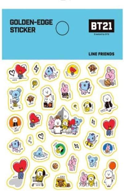 Bonus BTS Photocards Included/_Decorate Light Sticks or Gadgets BTS Official Merchandise Golden Edge Sticker Blue