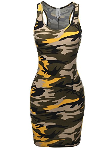 Camouflage Jersey Gloves - Awesome21 Printed Sexy Body-Con Racer-Back Mini Dress Yellow Camo L