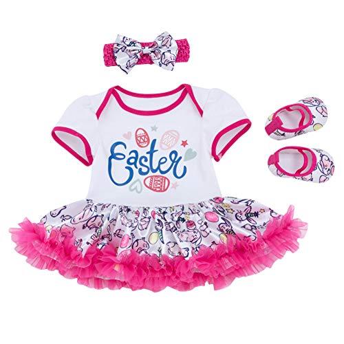 - Newborn Baby Girl Cotton 3pcs Set My 1st Easter Eggs Rabbit Bunny Romper Tutu Dress Outfit Short Sleeve Birthday Cake Smash Bodysuit Jumpsuit Playsuit Leg Warmer Shoes Photo Shoot #Rose 0-3 Months