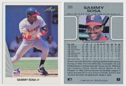 (1990 Leaf Sammy Sosa Rookie Card (RC) #220 shipped in a Protective Screwdown Holder - White Sox Cubs )