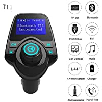 Autoday Automotive T11 Wireless Bluetooth Car MP3 Adapter LCD Modulator Full Frequency FM Transmitter Suitable for All Smartphones AUX Cable/TF Card/3.5mm Line/Handsfree Calling (Ship From US)