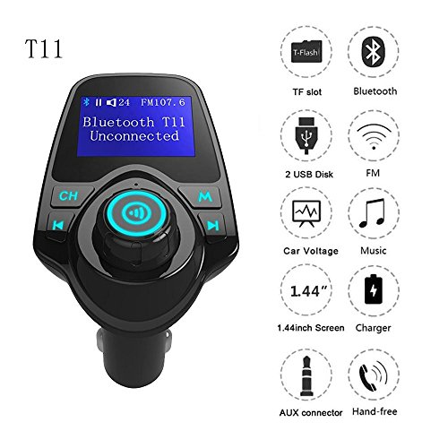 Autoday Automotive T11 Wireless Bluetooth Car MP3 Adapter LCD Modulator Full Frequency FM Transmitter Suitable for All Smartphones AUX Cable/TF Card/3.5mm Line/Handsfree Calling (Ship From US) Dual Ipod Interface Cable