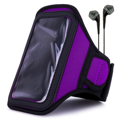VanGoddy Armband – PURPLE PLUM Neoprene Sweat-proof w/ Key & ID Card Pouch for LG Volt LTE Android Phone + Black Handsfree Microphone Headphones by Vangoddy