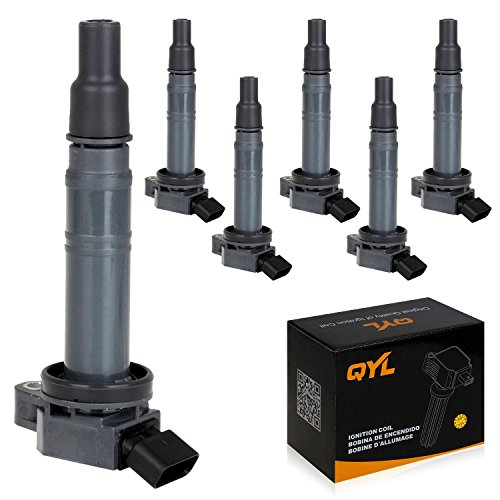 QYL 6 Pcs Ignition Coils Pack UF495 WA2435 Replacement for Toyota 4Runner 2003-2009 Camry Hiace 2006-2011 Tundra 2005-2014 Tacoma 2005-2017 Fj Cruiser Solara 2007-2009 Hilux 2004-2010