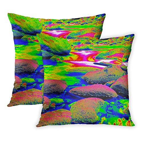 Emvency Throw Pillow Covers of 2 Sets, Mossy Stones in Mountain River Infrared Amazing Thermography Boulders and Water Level Shadows of Trees Decor Zippered Square Size 16 x 16 Inches Pillowcase ()