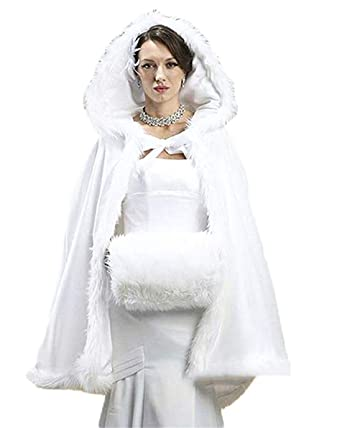 5cbdd788d Amazon.com  Bridal Cape Wedding Cloaks Hooded Winter Warm Short ...