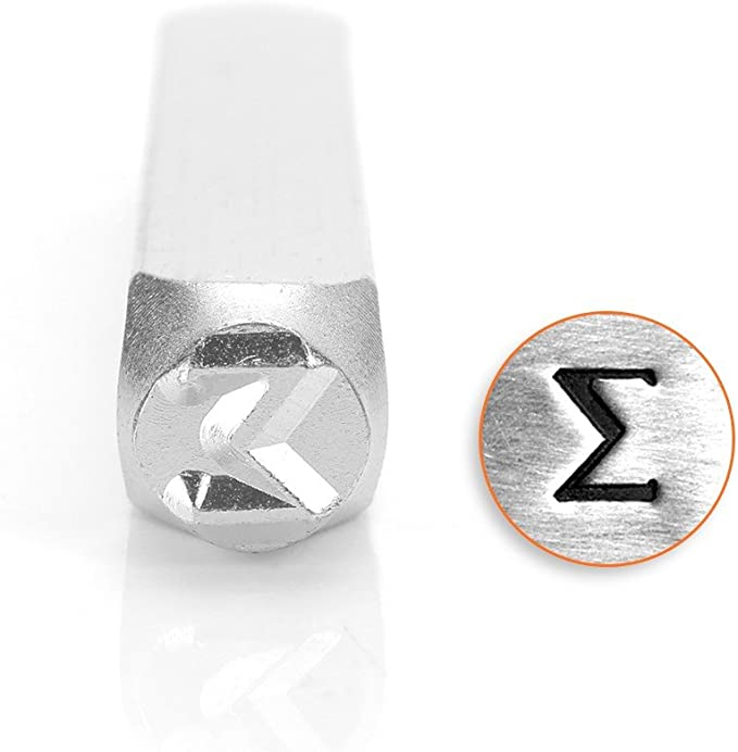 Silver Toned Etched Oval Greek Lowercase Letter Sigma Magnet
