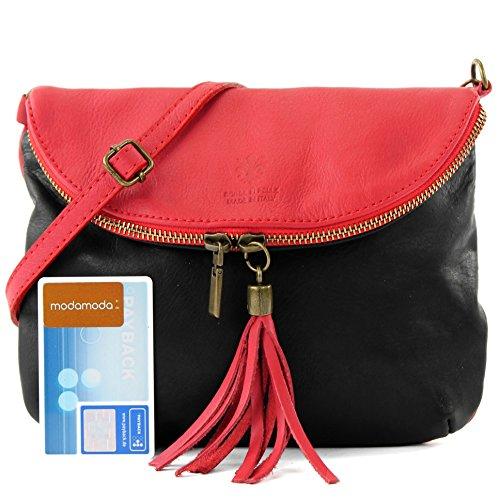 bandoulière Fille cuir en sac T139 Sac sac d'embrayage Schwarz à Rot ital sac cuir d'embrayage petit Wvqvt17rfY