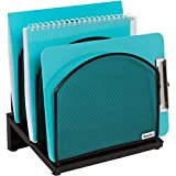 Inclined File Sorter Desk Organizer - File Rack with 5 Upright Sections for Files, Binders, Folders, Clipboards, and More. Desktop Organization for Home, Office, School, and Store