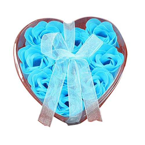 Highpot Cute Heart Gift boxes With 9 Rose Petal Soaps For Wedding Party Birthday Gifts Decorations Supplies (Blue)