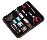 Deluxe Sewing Kit with 30+ Notions that are Professional and, Attractive Tough PU Leather Case Included, Compact and Perfect for Apartment, Dorm Room, Occasional Sewing, Crafts, Repairs