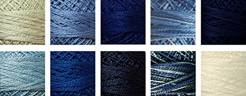 (Valdani Perle Cotton Size 8 Embroidery Thread ''Sashiko Blues'' Sampler Set - 10 Colors, 73 Yards Each)