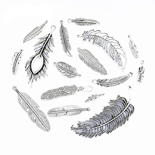DROLE Assorted Feather Charms Connectors Mixed Antique Silver Charms Pendants for Crafting DIY Necklace Bracelet Jewelry 16Pcs #3