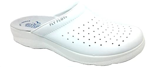 FLY FLOT CIABATTE SANITARIE UOMO art.90823028 BC pelle bianco (42) cd43d5a4f92