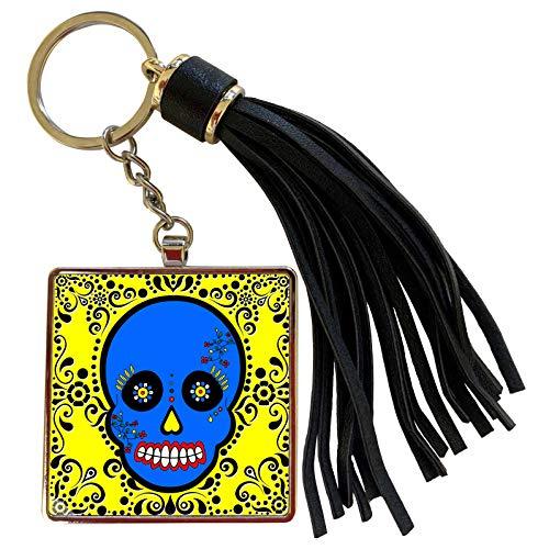 3dRose Janna Salak Designs Day of the Dead - Day of the Dead Skull Día de los Muertos Sugar Skull Blue Yellow Black Scroll Design - Tassel Key Chain (tkc_28875_1)