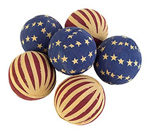 The Country House Collection Decorative Patriotic American Flag Rag Balls Set of 6