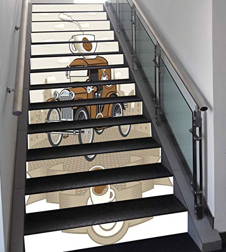 Stair Stickers Wall Stickers,13 PCS Self-Adhesive,Cars,Old Fashioned Car with Coffee Cup on The Top Caffeine Beverage Hot Drink Decorative,Caramel Cocoa White,Stair Riser Decal for Living Room, Hall,]()