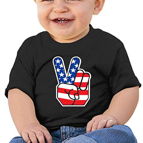 V Peace Sign Victory Hand Baby Infant Short Sleeve Crewneck Cotton T-Shirts Black